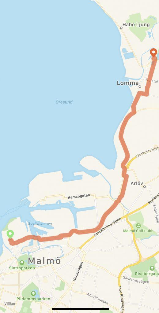 Cykelväg karta mellan Lomma Malmö Västra Hamnen